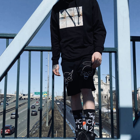 spooky shorts ( black / red )