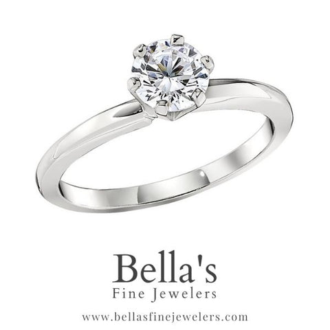six prong plain solitaire engagement ring setting