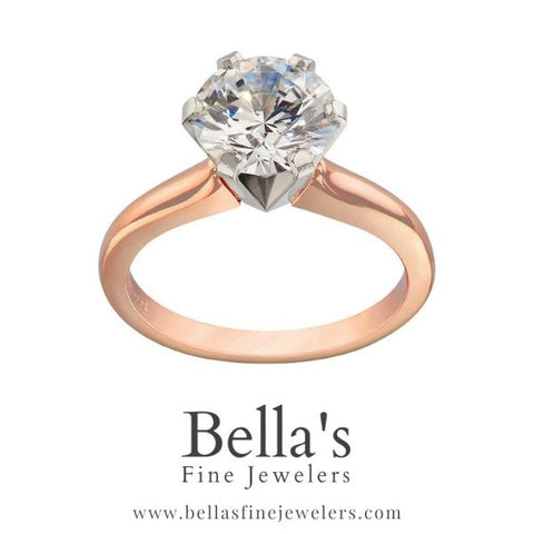 Two tone engagement ring, pink and white gold engagement rings, rose gold solitaire