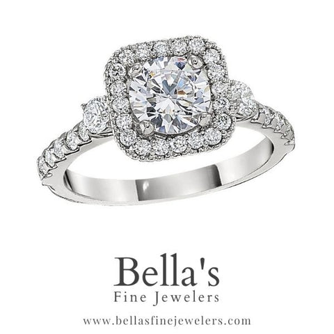 Halo Engagement Ring with Diamond Sides, Diamond Halo Engagement Ring