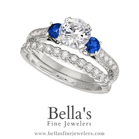 Sapphire and Diamond Engagement Ring, vintage sapphire engagement ring