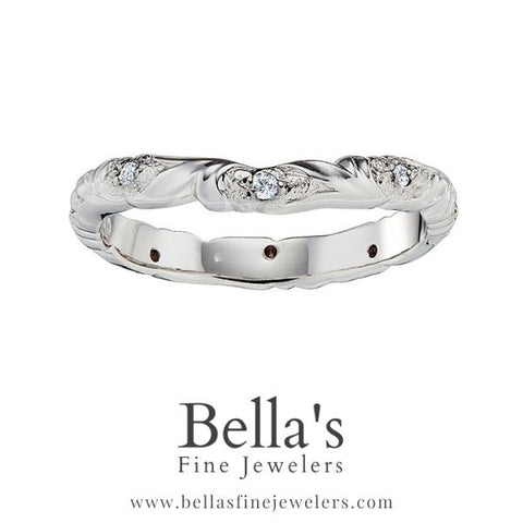 flower curved wedding ring, diamond curved wedding bands with flowers