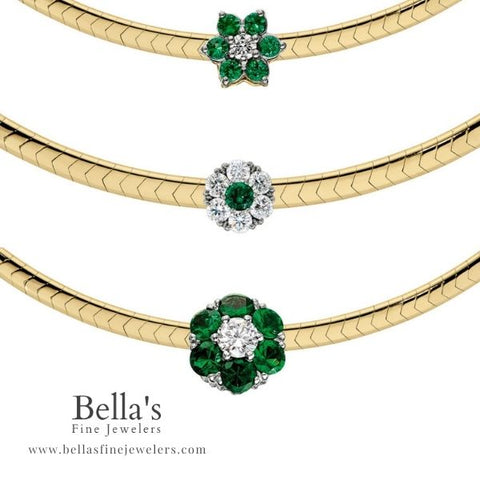 Emerald and diamond cluster necklaces, omega necklaces, luxury emerald jewelry