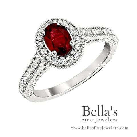 ruby engagement rings, ruby and diamond engagement rings, halo engagement rings, gemstone engagement rings, princess di style engagement rings