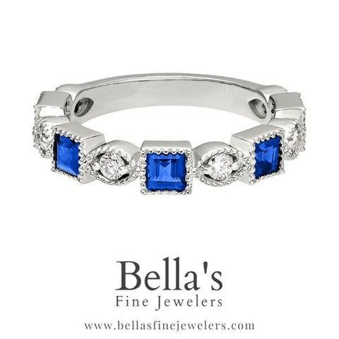 Examples of Vintage Square Sapphire and Diamond Wedding Bands