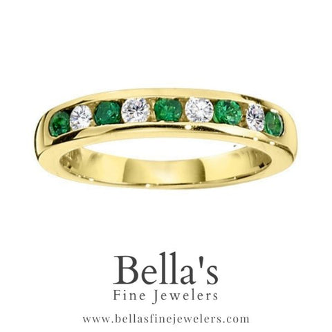 Examples of Emerald and Diamond Wedding Bands