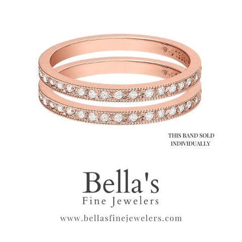 Stackable diamond bands that can be used as ring guards, stackable wedding bands, double wedding bands, two wedding band trend, 2 wedding ring trend, rose gold wedding bands set with diamonds
