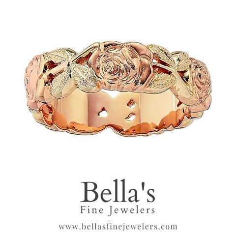 Flower Wedding Rings, Floral Wedding Rings, Rose Wedding Band, Sculpted wedding Rings, pink and green gold wedding rings