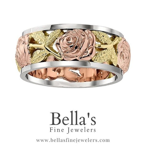 rose and leaf wedding bands, pink and green gold wedding bands, flower wedding bands, floral wedding rings