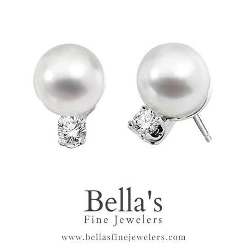 Pearl and Diamond Earrings, Classic pearl and diamond studs, simple pearl earrings