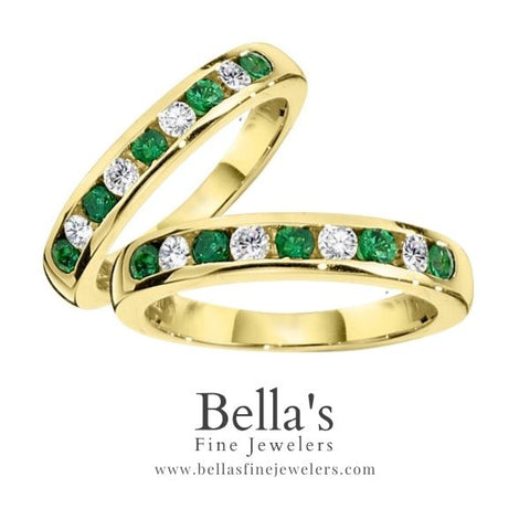 Emerald and Diamond Anniversary Band, Emerald and Diamond Channel Band, Gemstone Wedding Bands, Gemstone Anniversary Bands