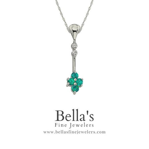 Emerald and Diamond Pendant, long emerald pendant, unique emerald and diamond necklaces