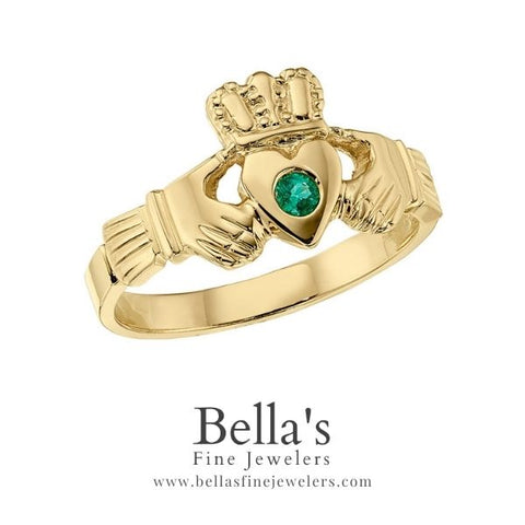 emerald claddagh ring, claddagh ring with emerald, yellow gold claddagh with emerald