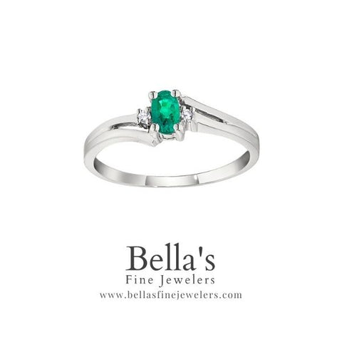 Emerald and Diamond Birthstone ring, bypass emerald ring, may birthstone rings, emerald birthstone rings