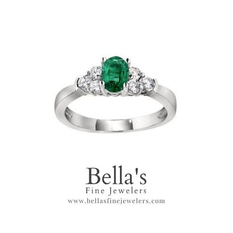 Emerald and diamond rings, oval gemstone ring with three diamonds on the side, classic emerald ring, classic gemstone rings