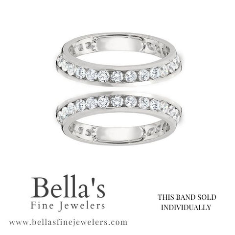 diamond ring guards, channel set ring guards, double wedding bands with diamonds on angles, angled diamond band set