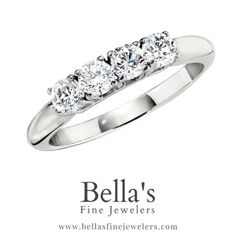 four diamond band, 4 diamond band, diamond bands to match three stone rings, three stone engagement ring diamond bands to match