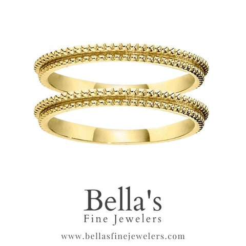 millgrain ring guards coin edge double wedding bands all gold