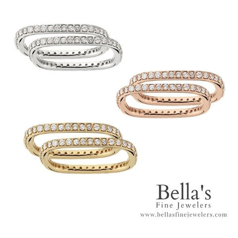 Stackable diamond bands that can be used as ring guards, stackable wedding bands, double wedding bands, two wedding band trend, 2 wedding ring trend
