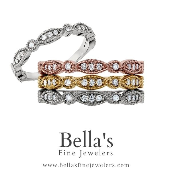 Stackable Vintage Diamond Bands, Antique Style Wedding Rings, Vintage Inspired Diamond Rings
