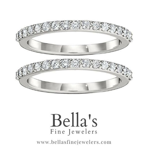 plain gold wedding set, two wedding bands with diamonds