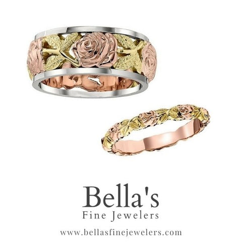 pink and green gold matching flower wedding rings, matching wedding bands engraved with flowers