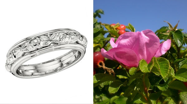 rose wedding bands, rose wedding rings, sculpted flower wedding band, sculpted flower wedding ring, engraved flower wedding bands with roses, rose wedding band in white gold