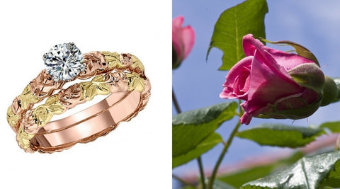 wedding bands with roses, wedding bands with flowers, floral wedding bands, pink and green gold wedding bands, pink and green gold rose wedding band, vintage flower wedding rings, engraved flower wedding bands, engraved floral wedding bands