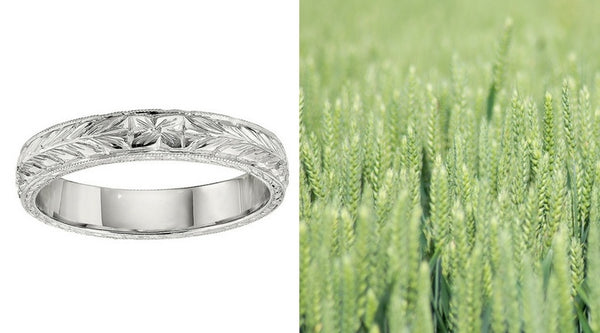 wheat engraved wedding bands, wheat engraved wedding rings, engraved wedding bands, engraved wedding rings, hand engraved wedding band, hand engraved wedding ring, vintage style gold bands, vintage style gold wedding rings