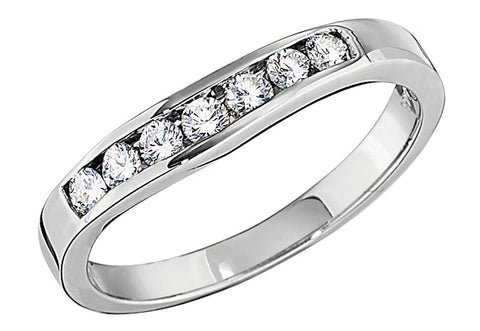 diamond curved wedding bands