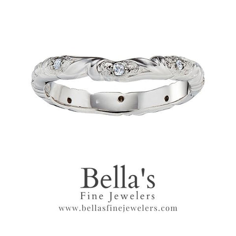 curved diamond wedding ring with flowers, curved diamond wedding band with flowers, diamond wedding bands with flowers, diamond floral wedding rings