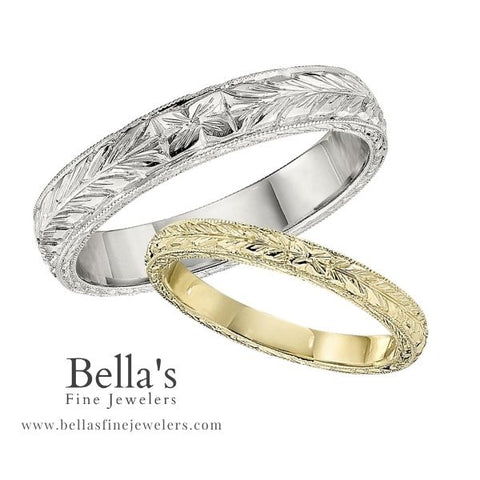vintage style wedding bands, antique style wedding bands, vintage wedding bands, antique wedding bands, engraved wedding bands, unique wedding bands, hand engraved wedding bands, etched wedding bands, nature themed wedding bands