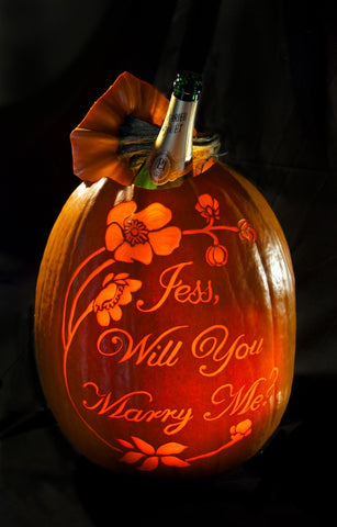 proposing with a pumpkin, champagne bucket pumpkin, unique pumpkin proposals