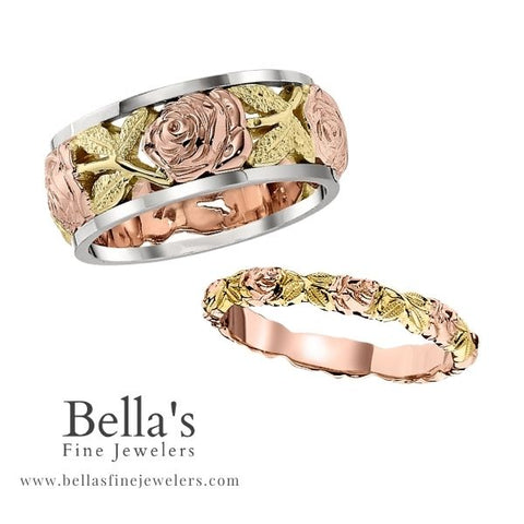 rose gold matching wedding bands his and hers, unisex matching wedding bands, floral vintage matching wedding bands, matching wedding bands gold, unique matching wedding bands, wedding rings his and hers matching wedding sets, wedding rings for couple, unique wedding band set, unique wedding ring set