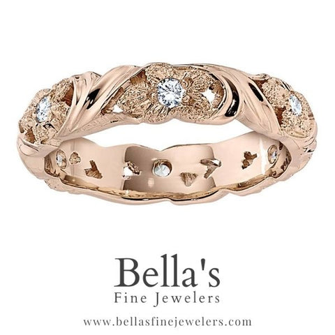 rose gold dogwood flower diamond wedding ring