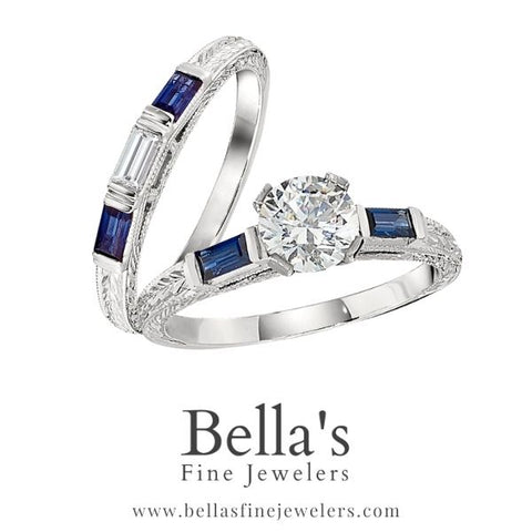 intricate sapphire vintage engagement rings, antique style engagement ring with sapphires, hand engraved engagement rings, baguette vintage rings, baguette antique style engagement rings