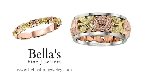 Matching Rose Wedding Rings, pink and green gold wedding rings