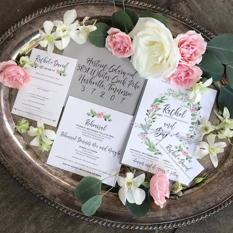wedding invitations with flower theme, floral wedding invitation suite, wedding printed materials with flowers, rustic wedding invitations with flowers
