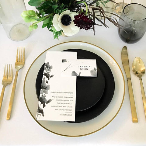 black and white wedding flower menu, black and white flower wedding invitations, black and white save the dates with flower, wedding program with flowers in black and white
