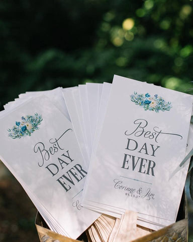 wedding program with hand painted flowers, floral wedding programs, flower wedding programs, hand painted wedding programs with flowers
