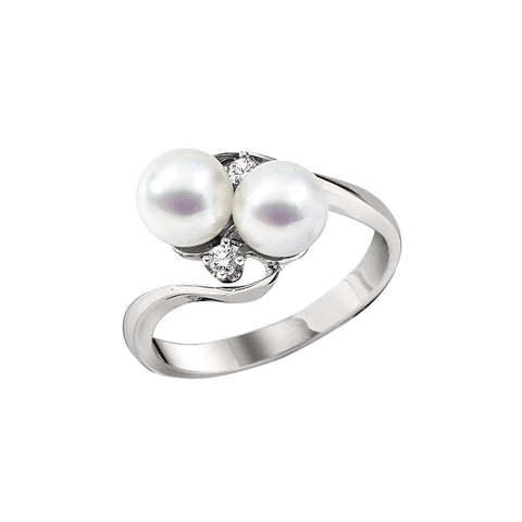 Double Pearl and Diamond Fancy Ring