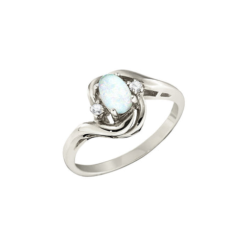 Opal and Diamond Bypass Swirl Ring