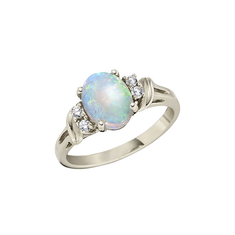 Large Oval Opal and Diamond Ring