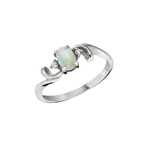 Opal and Diamond Wave Ring