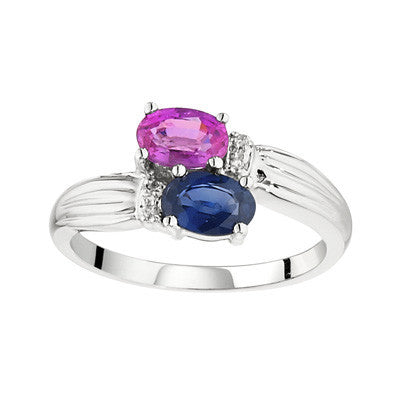 sapphire and pink sapphire ring, pink and blue sapphire ring, east west ring, sapphire ring