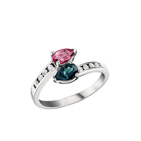 Pink and Green Tourmaline Ring With Channel Set Diamonds