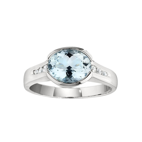 March Birthstone, Aquamarine Modern Ring