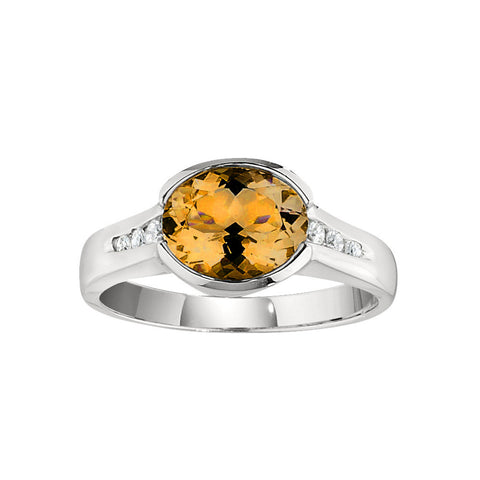 November Birthstone, Citrine Modern Ring