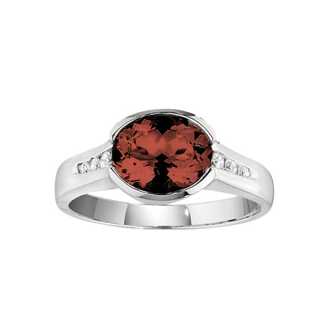 January Birthstone, Garnet Modern Ring