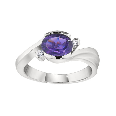 Modern Amethyst Ring, Modern February Birthstone Jewelry, East West Split By Pass Ring